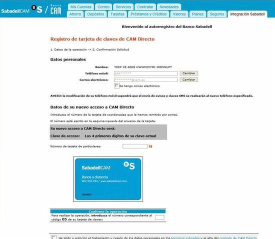 Tarjeta de claves SabadellCAM
