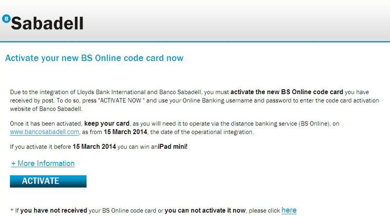 Activate your new BS Online code card now