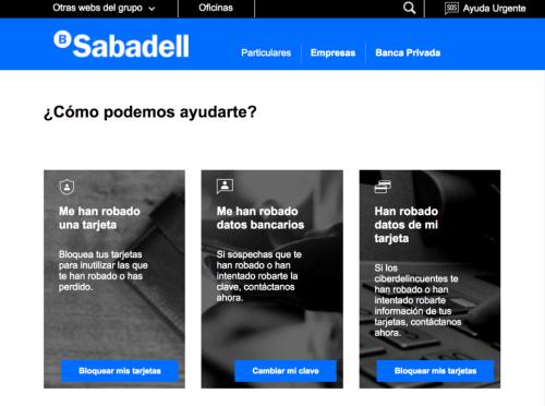 Banco Sabadell SOS ayuda urgente