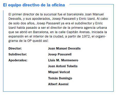 Equipo directivo de la primera oficina de Banco Sabadell en Barcelona
